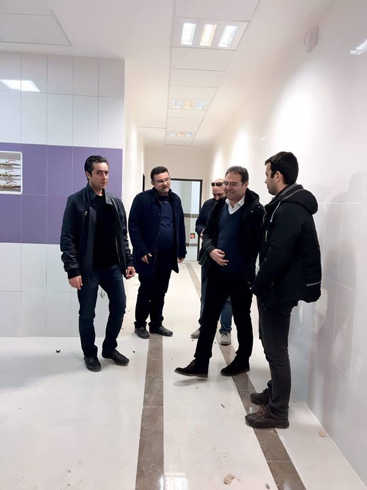 بازدید آقایان مهندس رحیمیان و مهندس ابریشمی، مدیر عامل و مدیر فنی و اجرایی شرکت از پروژه کلینیک سرطانی و طرح توسعه بیمارستان مطهری ارومیه در تاریخ ۹۶/۱۱/۱۸