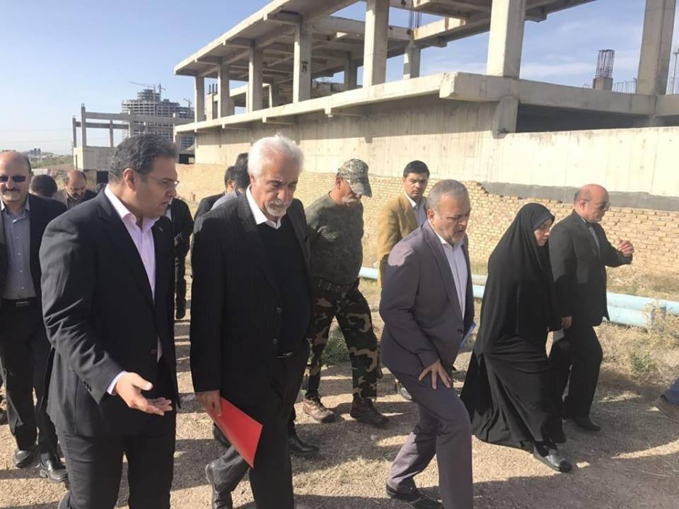 Visiting the 6000-person salon project and the Qazvin Athletics and Exercise Hall, 19/4/2018