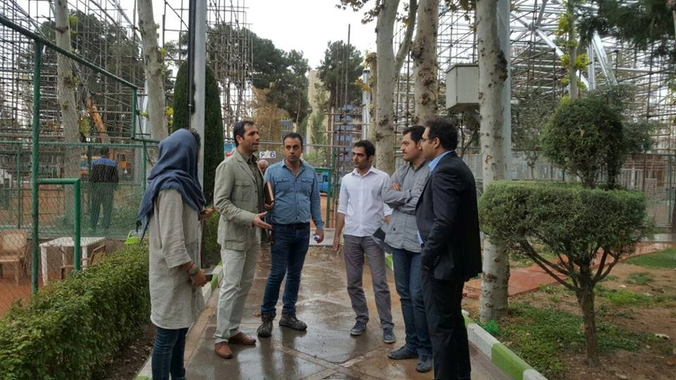 Visit by Mr. Mohammad Rahimian, Managing Director, and Mrs. Keykha, Director of Design and Designers of the Project, from the construction of platforms for spectators and sidewalks and the roofing of the tennis courts of the Post Club, affiliated with the Ministry of Communications and Information Technology, date 2/11/2016