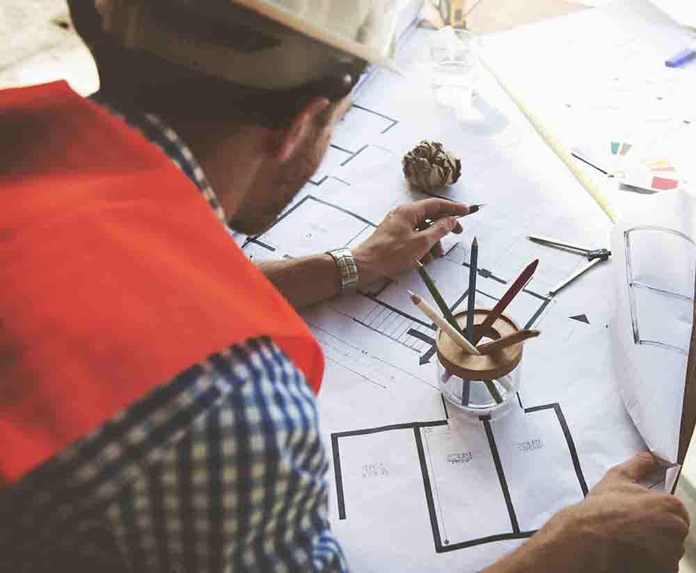 Architect Engineer Blueprint Design Working Concept
