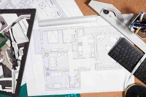 Blueprints on an architect table
