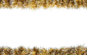 Seamless Christmas gold silver tinsel frame. Isolated on a white background.